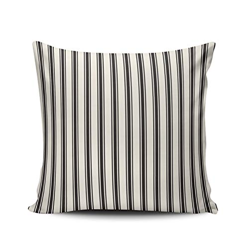WEINIYA Bedroom Custom Decor Classic Stripe Pattern Black and Cream Pillow Cover Case Elegant Design Double Sides Printed Patterning European 26x26 Inches