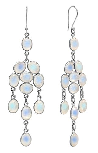 YoTreasure 3 1 2 Rainbow Moonstone 925 Solid Sterling Silver Earrings Silver Jewelry