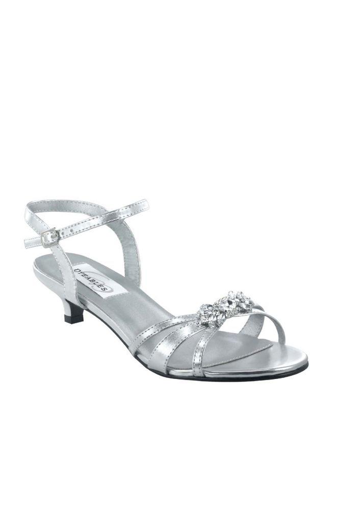 David's Bridal Jeweled Metallic Kitten Heel Sandals Style Penelope, Silver, 9