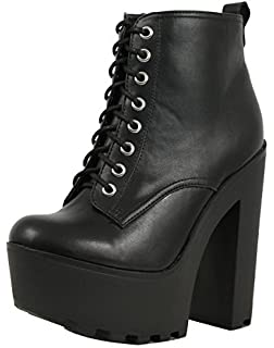 3ca60c9b6f1c SODA Women s Gru Faux Leather Lace-Up Thick Platform Chunky Heel Lug Ankle  Bootie