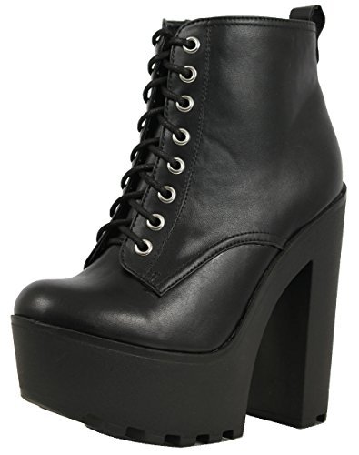 8f0efbf0348b SODA Women s Gru Faux Leather Lace-Up Thick Platform Chunky Heel Lug Ankle  Bootie