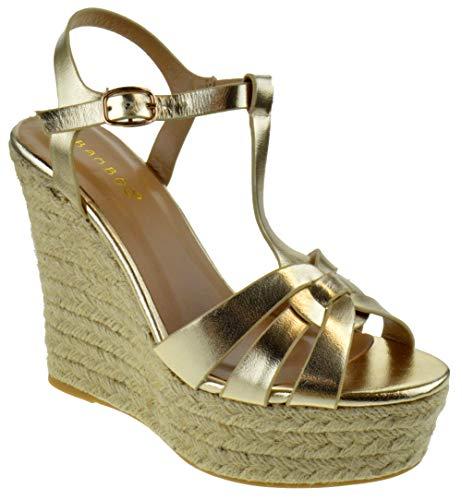 BAMBOO Choice 55 Womens Slingback Buckle Platform Wedge Dress Sandals Gold 9