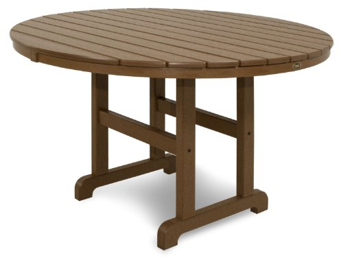 "Trex Outdoor Furniture TXRT248TH Monterey Bay Round Dining Table, 48-Inch, Tree House - 48"" round dining table offers seating space for four and is constructed of durable HDPE recycled lumber Unlike real wood, HDPE recycled lumber won't rot, crack or splinter; durable HDPE lumber gives the look of painted wood without the maintenance Resists environmental stresses including stains, insects, corrosive substances and salt spray; all hardware is genuine stainless steel - patio-tables, patio-furniture, patio - 41I8IVy5qsL -"