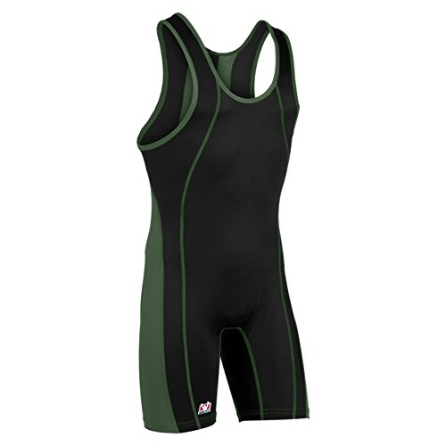 Brute Lycra Wrestling Singlet (Brute Maverick Wrestling Singlet - Custom Color -:BLACK/HUNTER- YS)