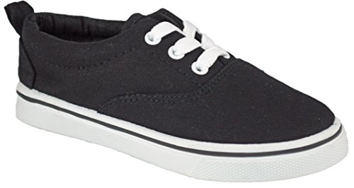 Kids Soft and Comfortable Slip on Tie Up Lace Canvas Shoes ( Little Kids / Big Kids / Toddlers ) ... (12 Kids, Black and White)