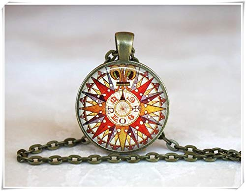 Northstar Explorer (we are Forever family Vintage Compass Rose Pendant,Red Compass Necklace, Antique Compass Necklace,Gift a Traveller)