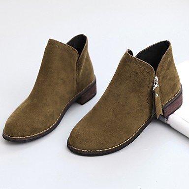 Puntera CN39 Para De RTRY Botas Casual Suede US8 Borgoña Camel De Botas Talón Zapatos Mujer Negro EU39 UK6 Bajo Otoño El Combate Redonda Cremallera gZw7SZAq