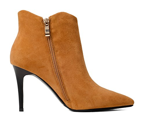Booties Ruched Heel Pointed Toe Martin Stiletto Side Brown Zip Boots Leather Women's Honeystore qgxawBEB