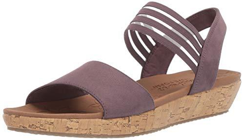 Skechers Women's Brie-LO'PROFILE-Stretch Mesh Vamp Sling Back Sandal Sport, Mauve, 6.5 M US - Mesh Wedge Sandals