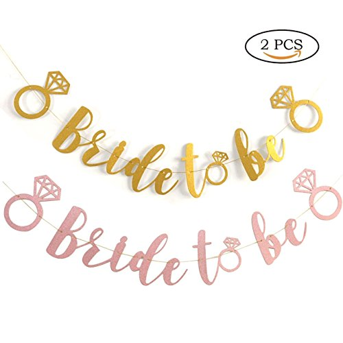 Personal Sig - 2 PCS Bride to BE Gold Glitter Banner with Diamond Ring Detail | Bachelorette Party | Bridal Shower | Engagement Party | Wedding Shower | Hen Party | Decorative sig
