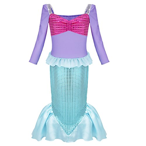 iEFiEL Kids Shiny Sequin Sea Girl Tube Dress Costume Outfit (7-8) (Sea Creature Costumes)