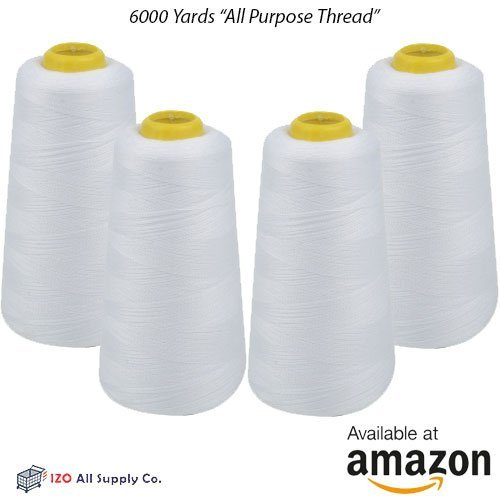 IZO Home Goods 4-Pack of 6000 Yards (EACH) White Serger Cone Thread All Purpose Sewing Thread Polyester Spools Overlock (Serger,Over lock, Merrow, Single (Brother Serger)