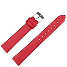 Kingfansion 16mm Women Fashion Leather Watch Strap Watch Band (Red)