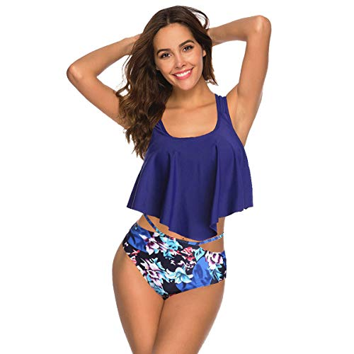 de81d922de6 COME2LOOK Swimsuits for Women Modest Two Piece Bathing Suits with Flounce  Bikini Top and High Waisted