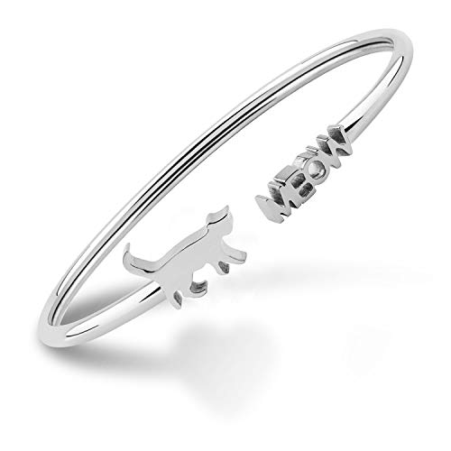 Tiny Cat Meow Cuff Bracelet Jewelry Cat Lover Gifts (Cuff Bangle Silver)