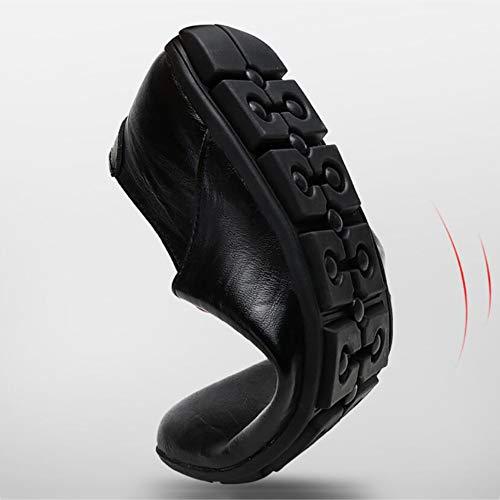 YaXuan Zapatos Mocasines y Negro Luz Zapatos Suaves Transpirables de conducción Hombre Zapatos perezososNegro de Otoño Ons Invierno Slip Cuero Zapatos rrpqYxZ