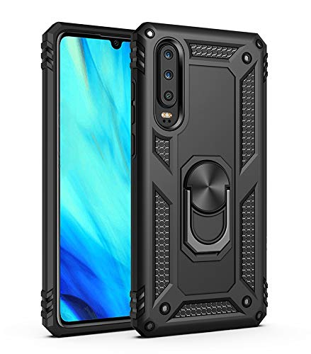 Case for Huawei P30 ELE-L09 ELE-L29 ELE-AL00 Case Cover .360 Degree Rotating Bracket Cover Black ()