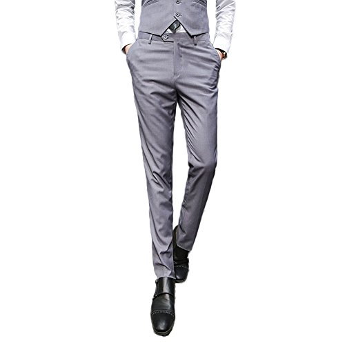 AK Beauty Men's Slim Fit Suit Pants Wrinkle Free Skinny Flat Front Pants Separate Pants Grey 34W¡Á30L by AK Beauty