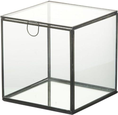 De cristal/caja de almacenaje de Metal cuadrado - 18 cm: Amazon.es: Hogar