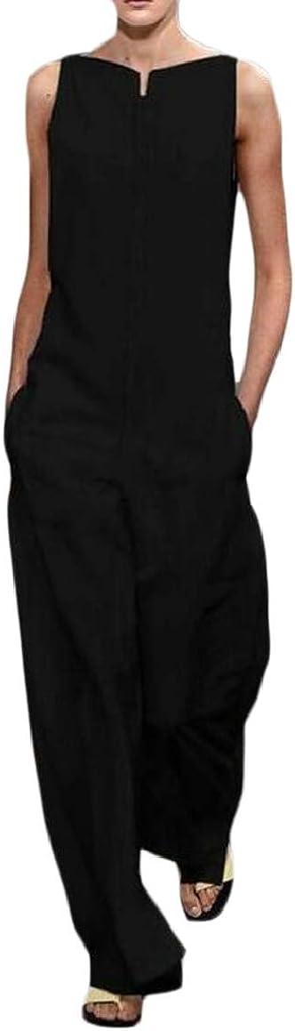 HTOOHTOOH Womens Elegant Sleeveless Solid Loose Jumpsuit Playsuit with Pocket