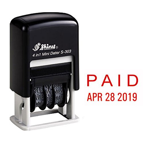 Shiny Self Inking Rubber Date Stamp, PAID, Red Ink