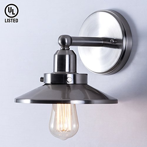 Mars Lighting Metal Wall Sconces Light, Industrial Vintage Edison Lamp, Satin Nickel Finished for Home Cafe Bar Club, E26 Base Bulb Included, UL Listed - Ul Satin Sconce