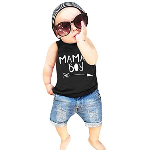 Baby Outfits Sets,Toddler Baby Boys Letter Print Vest Tops+Hole Denim Jean Shorts Outfits,Baby Boys' Layette Sets Black