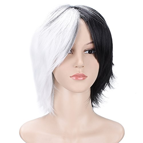Another Me Wig Women and Men's Layered Short Straight Hair Wig Black White Hair Heat Resistant Fiber Party Cosplay (Team Edward Halloween Costume)
