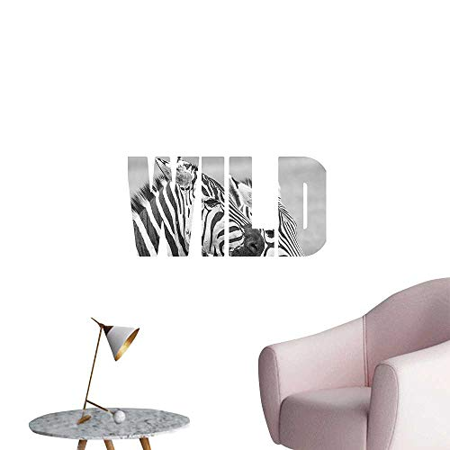 Wall Stickers for Living Room Word Wild Over Zebras Picture s Adventure Travell Theme Black White Vinyl Wall Stickers Print,12
