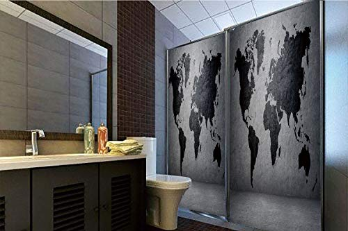 """Price comparison product image Decorative Privacy Window Film,  35.43""""H x 23.62""""W for Home&OfficeDark Grey, Black Colored World Map on Concrete Wall Image Urban Structure Grungy Rough Look, Grey Black, 35.43""""H x 23.62""""W for Hom"""