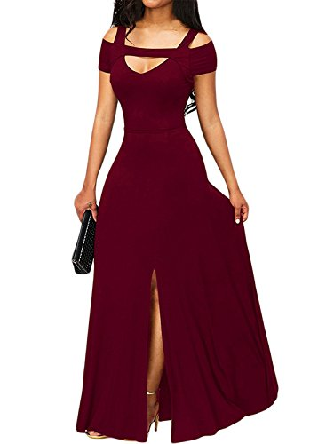 Bulawoo Women's NightClub Short Sleeve Sexy Cold Shoulder Flared Maxi Party Dress XL Size Burgundy