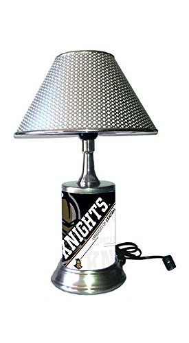 JS Table Lamp with Chrome Colored Shade, UCF Knights Plate Rolled in on The lamp Base, Central ()