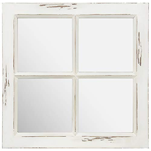 (Everly Hart Collection Distressed White Rustic Framed Window Pane Wall Accent Mirrors,)