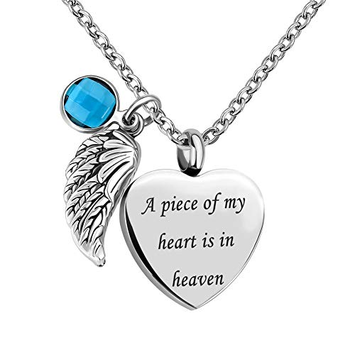 Infinite Memories - A Piece of My Heart is in Heaven - Love Heart Angel Wing Crystal Urn Necklace for Ashes Pendant MAR. Birthstones