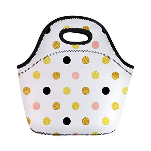 Semtomn Lunch Tote Bag Dots of Rose Gold and Black Sparkles Shining Paddle Reusable Neoprene Insulated Thermal Outdoor Picnic Lunchbox for Men Women