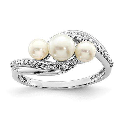 (FB Jewels Solid Sterling Silver Rhodium Plated Diamond And Fw Cultured Pearl Ring Size 7)