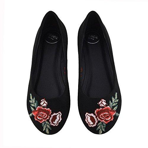 Slip Wildleder Größe Schwarz Damen 3 Flache Pumps Casual Neue On bestickte Schuhe Faux Womens Ballerina 8 nFvBXZ