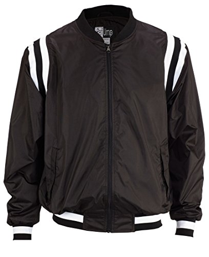 (Smitty College Style Full front Zip Polyester Shell Jacket, Black with Black/White Insert, X-Large)