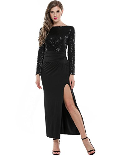 ANGVNS Sleeve Backless Sequin Evening