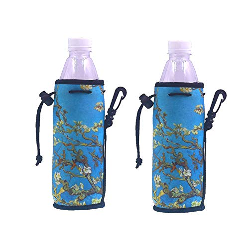 E - Living 500ML (16.9 OZ) Collapsible Printed Neoprene Water Bottle Drawstring Cooler/Coolie / Cover/Insulator / Holder/Huggie / Sleeve - 2 Pack (12 Colors) (Almond Blossom)
