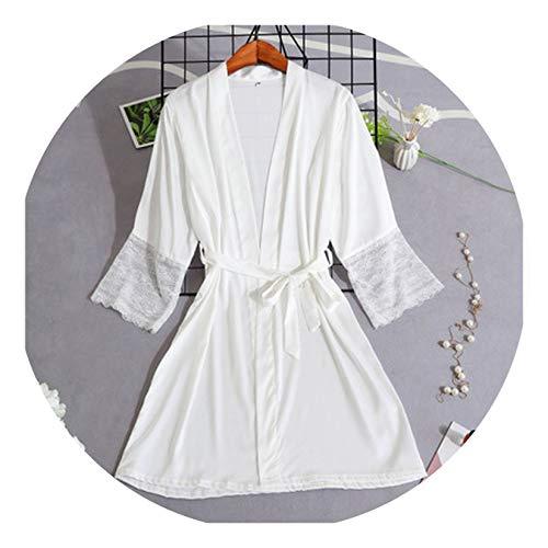 Women Silk Satin Short Night Robe Solid Kimono Sexy Lace Trim Bathrobe Peignoir Bride Bridesmaid Dressing Gown White