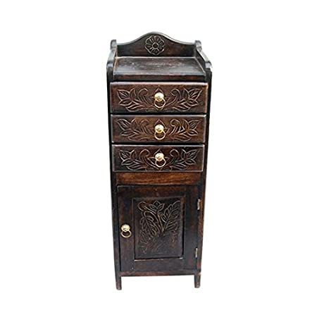 Acme Furniture Wooden Chaste Chest Of Drawers And Shelf Narrow Nightstand - Brown