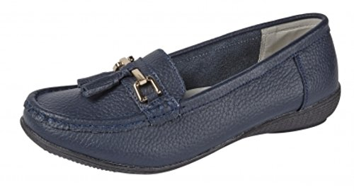 Shoe Tree Comfort Leather Moccasins Slip On Ladies Loafers Comfortable Comfort Shoes Flat Loafer Nautical Navy pH9pynbDV