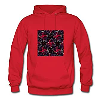 X-large Custom-made Women Hoody Dark Luxury Pattern By Ebolam Red