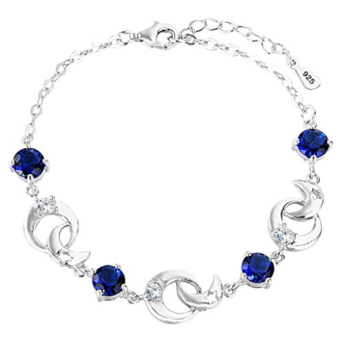 925 Sterling Silver Costume Jewelry - EleQueen 925 Sterling Silver Round CZ Moon Star Bracelet Chain, 6.9