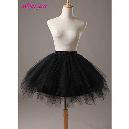 80s Outfits Party (Adult TUTU Women Black 50s 80s costume Vintage petticoat bubble tulle party)