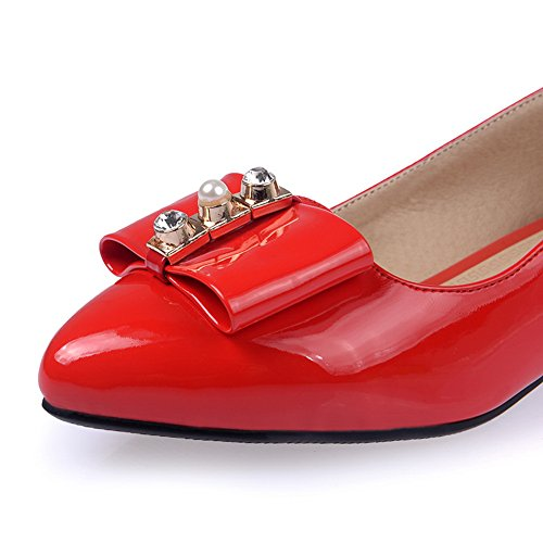 BalaMasa da donna metallo Bowknot Pull-On a punta in vernice pumps-shoes, Rosso (Red), 35