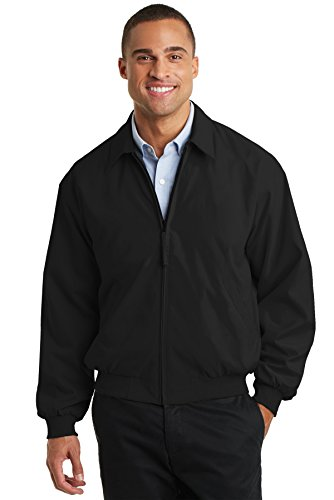 Port Authority Men's Casual Microfiber Jacket XXL Black/Solid Pewter Lining