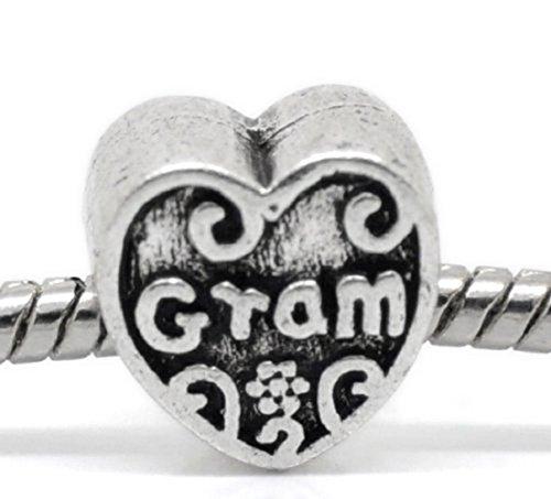 Grams Heart Bracelets - Pro Jewelry Gram on Heart Charm Bead Compatible with European Snake Chain Bracelets