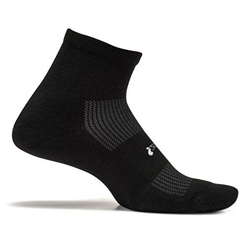 Feetures! Men's High Performance Cushion Quarter, Black, Sock Size:10-13/Shoe Size: 6-12